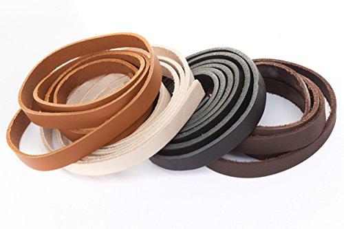 esnado Lederband, Lederriemen Flach 10 x 2 mm. Braun 1 Meter