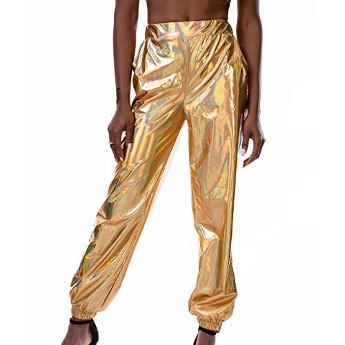 LOPILY Hose Damen Lackoptik Metallische Partyhosen Vintage 60er 70er Jerseyhose Reflektionierende Hose mit Gummizug am Knöchel Locker Haremshosen Damen Rockabilly Bundhosen (Gelb, XL)