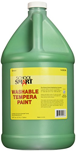 School Smart Washable Tempera Paint, 1 Gallon, Plastic Bottle, Green