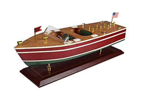 Navyline Holz Modellboot mit Standfuß - Amerikanisches Motorboot - Länge 44 cm