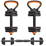 C&L Adjustable Weights Dumbbells Set 4 Multifunctional Free Weights Barbell Set Home Fitness Gym Equipment for Men Women Kettlebells Push Up Stand