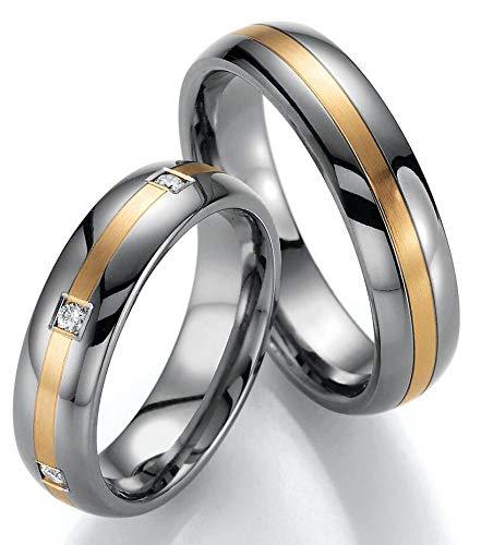 Schmuck Depot Paar Eheringe Partnerringe Verlobungsringe Titan/ 585 Gold mit Brillant +Gravur Antragsringe (Paar Ringe (Bild))