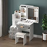 FAMAPY Vanity Set Makeup Vanity with Sliding Lighted Mirror & 4 Drawers, Wood Makeup Dressing Table with Hidden Shelves & Cushioned Stool, Makeup Desk for Girls and Women White