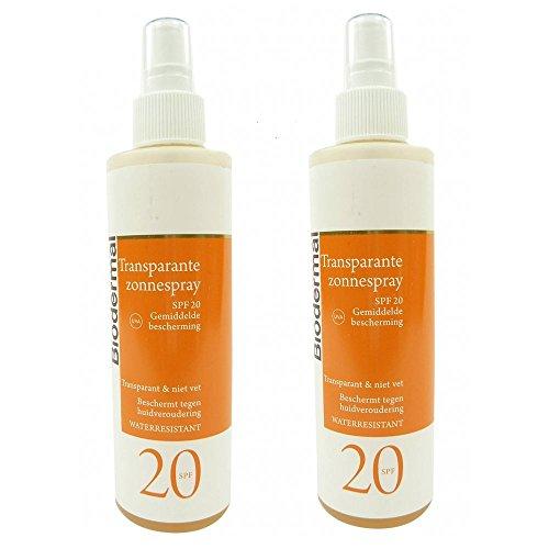 Biodermal Sun Care - SPF 20 Spray Solaire 2X200ML imperméable à l'eau protectrice transparente