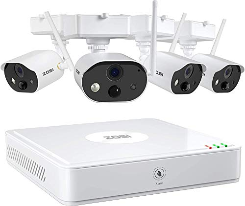 ZOSI C301 1080P Wire Free Cameras Security System Outdoor 4Channel NVR with 4pcs 1080p Rechargeable Battery Powered Security Cameras,80ft Night Vision,PIR Motion Detection, 2-Way Audio, 32GB SD Card