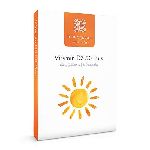 Vitamin D3 50 Plus | 2,000iu | Healthspan | 180 Capsules | Peppermint Flavoured | 50ug Vitamin D3 | Vegetarian