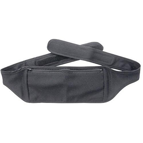 Amina 旅行用 シークレットベルト 腹巻き 仕様 の ウエストポーチ (パスポート などに) Lサイズ ブラック