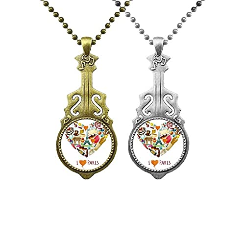 Francia Amor París Arco del Triunfo Eiffel Corazón Música Guitarra Colgante Collar Collar Colgante Pareja