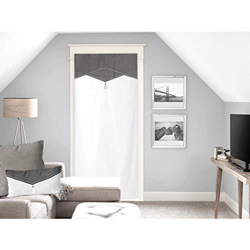 Soleil d'ocre Chambord Voilage Porte fenêtre, Coton, Gris, 70 x 200 cm