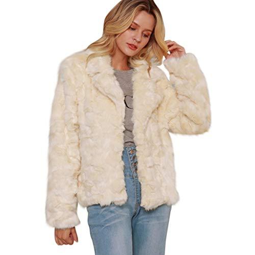 Fantastic Deal! Pumsun Women's Winter Lapel Thick Coat Faux Fur Warm Jacket Coat Outwear Beige