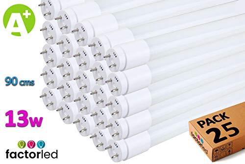 FactorLED Pack x25 Tubo LED 13W de Cristal 90 cm Circular 300º, Iluminación de Interior, Lámparas de techo, 30.000 Horas de vida, 1560 Lm, Garantía de 2 años (Blanco Cálido)