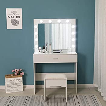 Uublik Vanity Set with Lighted Mirror,Makeup Vanity Dressing with Cushioned Stool Table Dresser Desk with Large Drawer for Bedroom,White Bedroom Furniture,Gift for Women Girl