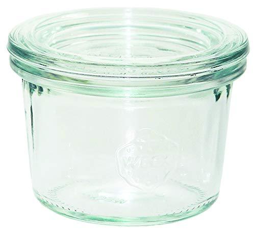 Weck 80 Botes de cristal de 80 ml (conservas de alta calidad, con tapa de cristal para conservas, resistente al calor, apto para microondas, apto para horno, borde redondo), 12 unidades, transparente