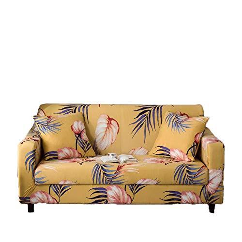Patrón de Hojas Fundas de sofá Funda de sofá elástica con Todo Incluido para sofá en Forma de L Silla de Dos plazas Funda de sofá Estilo L A8 3 Asientos 190-230cm-1pc
