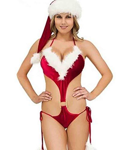 Disfraces eróticos para mujer Camisones y camisones para mujer Ropa interior para muñecas navideñas Lencería erótica sexy Porno rojo Camisón Vestido de noche Halter Disfraces sexy Mujer Papá N