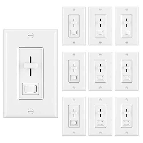 [10 Pack] BESTTEN Dimmer Light Switch for Dimmable LED, Halogen and Incandescent Bulbs, Single Pole or 3 Way, Vertical Slider, On/Off Rocker Switch, UL Listed, White