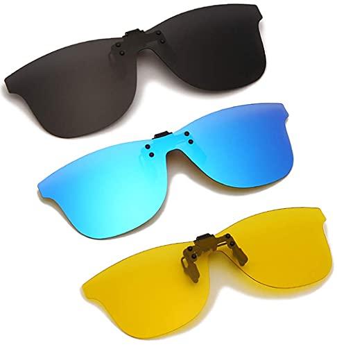 Long Keeper Gafas de Sol Polarizadas con Clip ANTI-UV400 Gafas Conducir Sin Montura para hombre y mujer para al aire libre (Gris + Amarillo + Azul)