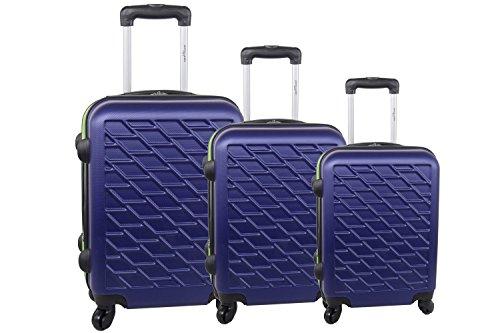 Set valigie trolley 3 pezzi rigido PIERRE CARDIN viola cabina da viaggio S286