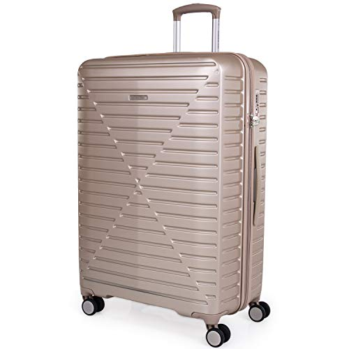 London Fog ABS Hard Shell 30 Inch Suitcase - Travel Luggage with 8 Spinner Wheels | TSA Locks Drag Handle Hard Sided Suitcases Weight 4.4 kg Cap 101L Height 76cm LFL005 (Large, Champagne)
