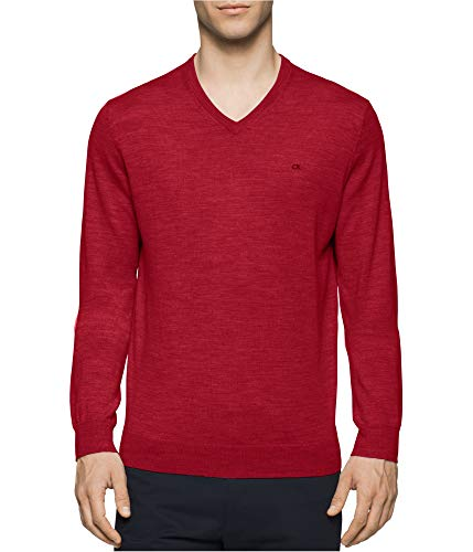 Calvin Klein Mens Knit Pullover Sweater, Red, XX-Large