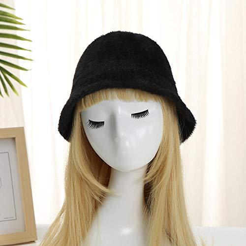 Tony plate Sombrero de Pescador de Punto de Lana Vintage Temperamento Sombrero de Lana cálido de Invierno para Mujer-Alero Corto Negro-Ajustable