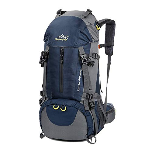 Hiking Backpack, Esup 50L Multipurpose Mountaineering Backpack with rain cover 45l+5l Travel Camping Backpack, Suitable for Climbing Skiing Outdoor Sport, Perfect Fathers Day Gifts (Blue-50L)