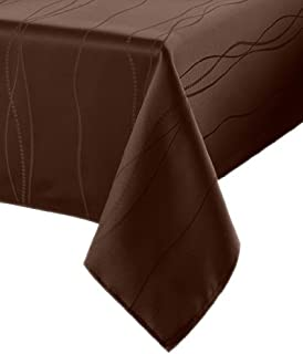 Benson Mills Gourmet Spillproof Fabric Tablecloth, Chocolate, 60-inch-by-104-inch