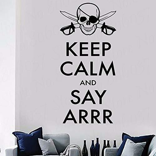 Blijf kalm en zeg Ars Corsair citaat muursticker piraat schedel sticker vinyl huisdecoratie tiener kamer verwijderbaar behang 36x68.4cm