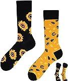 TODO Colours Lustige Socken mit Motiv - Mehrfarbige, Bunte, Verrückte für Herren und Damen (39-42, Sonnenblumen Socken)