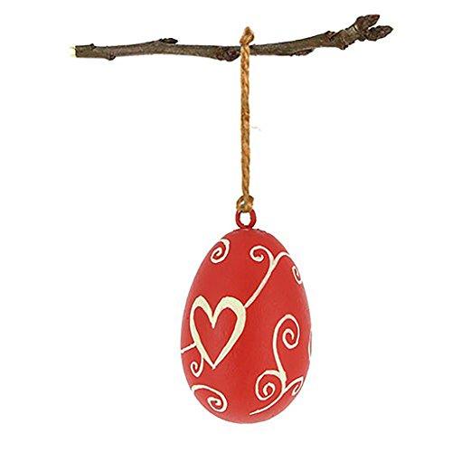 Osterdeko - Ei zum Aufhängen aus Mangoholz - 4,5 x 7 cm - Fair Trade (rot)