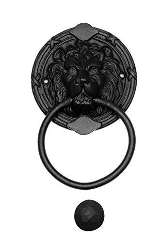 Türklopfer antik, Löwenkopf groß rund, handgefertigt aus Eisen, schwarz | EW014