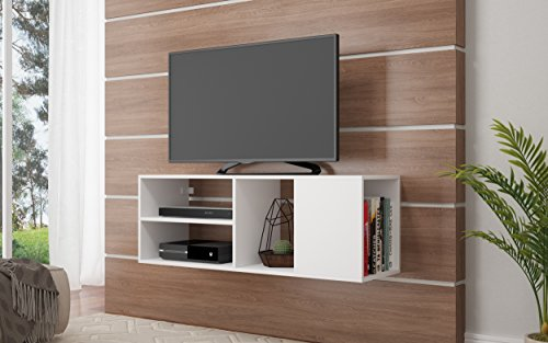 StarSun Depot Minetta 46' Floating TV Stand with 4 Shelves in White