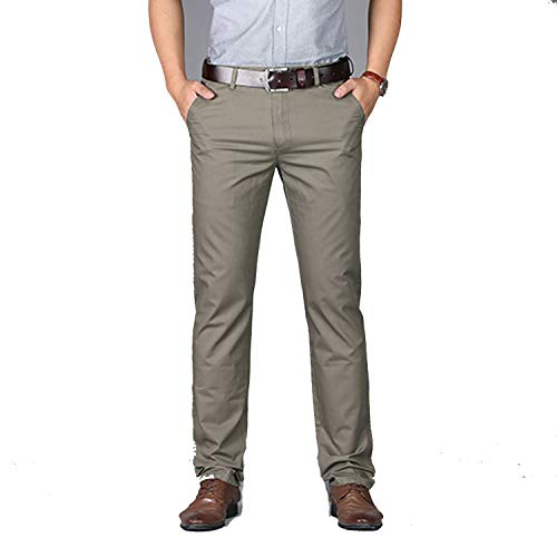 Ge-store Summer Slim Straight Men Business Casual Pants 100% Pure Cotton Lightweight Man Trousers,0927-Dark Khaki,29