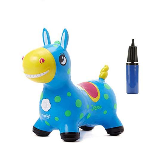 Animales Hinchables - Caballo para Saltar Bomba Inflable Incluida Caballo Inflable Caballo Rody Caballo de Salto para Niños con el Mejor Caucho Ecológico (Azul)