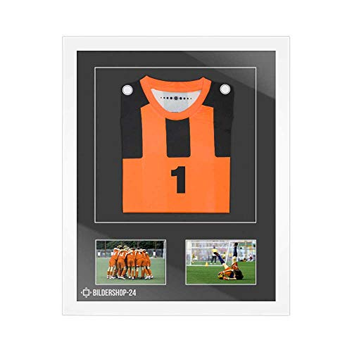 Bilderrahmen Trikotrahmen stabil RahmBig Weiß 50 X 70 cm Rahmen für Trikots, Sport Shirts + Passepartout Steingrau