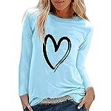 Camiseta Manga Larga Mujer riou Mujeres Elegantes Blusas Primavera con Estampado De Corazones Tops Casuales Original Fiesta T-Shirt Cuello Redondo Basica Camisa