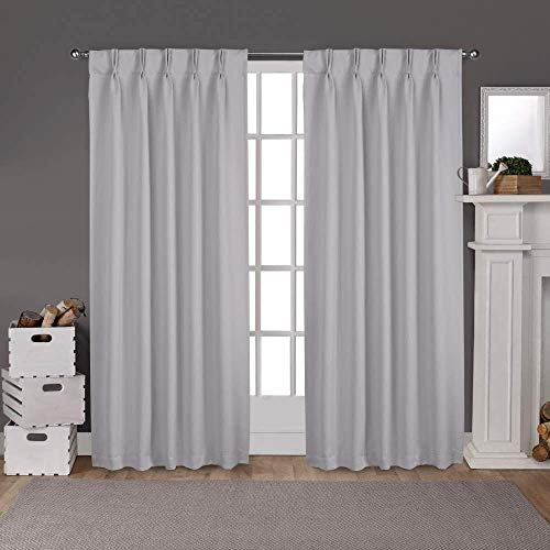 100% Polyseter Blended Cotton Sateen Weave Curtains Panel & Drapes (2 Panels Combined Size, Silver Grey, 42 Inch by 95 Inch)