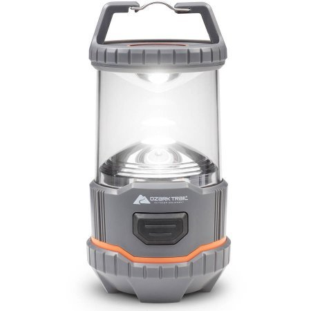 Ozark Trail 4 AA Battery Operated (BATTERY NOT INCLUDED) 200L Lantern, Grey/Orange, Impact-resistant, Portable, Lightweight, Outdoor, Camping, Hiking