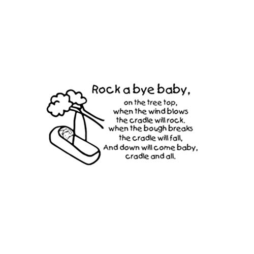 Landau nouveau-né bébé Rock A Bye Baby Sticker Mural Environnemental-M42x77cm