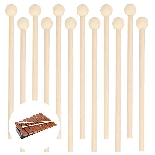 HAKOTOM 12pcs Mazos de Percusión de Madera, Palos de Marimba, Martillo Musical con Bolsa Franela Negra Almacenaje, Xilófono, Campana de Madera, Timbre de Energía, Instrumento de Percusión Aprendizaje.
