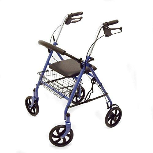 Ability Superstore-Andador Jay azul, ligero, 4ruedas, con asiento acolchado y cesta