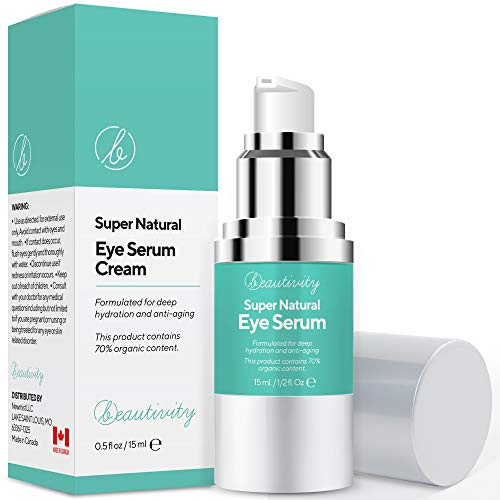 Beautivity Eye Cream Serum For Smooth Fine Lines, Reduce the Kook of Puffiness Appearance of Dark Circles Around the Eye Area. Fast-Absorbing, Oil-Free, Fragrance-Free, 15 ml/0.5 FL OZ Made In Canada