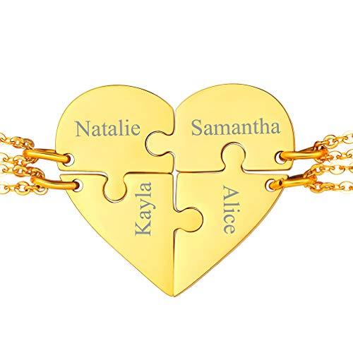 FaithHeart Colgantes Puzzle Cuatro Juegos para Parejas Matrimonios Collares Elegantes Acero Inoxidable Dorados de Regalo Cumpleaños