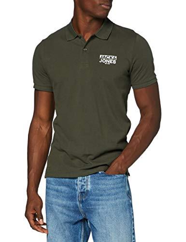 JACK & JONES Herren JJHERO Polo SS CAT Shirt, Forest Night/Fit:Slim. CORE Print, L