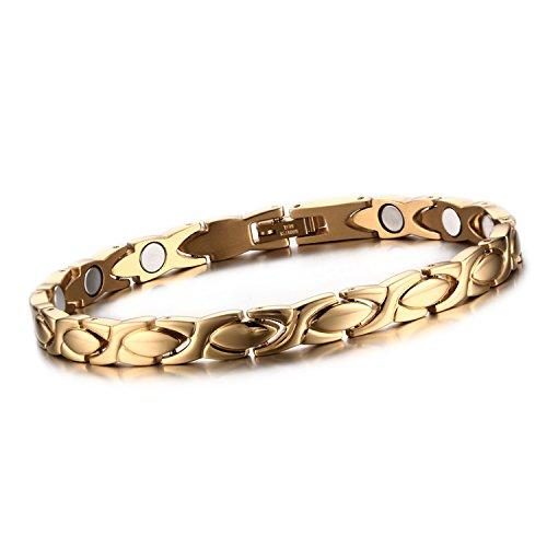 Cupimatch Herren Damen Magnetarmband, elegant Lieben Magnet Therapie Edelstahl Armband Armreif Gesundheitsarmband, Weiss Gold