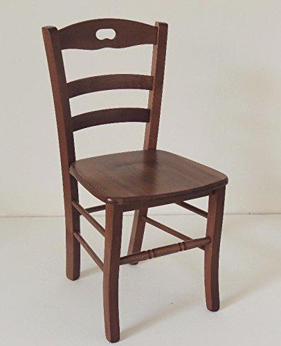 Ordine min. 2 pz sedia paesana in legno massello noce con seduta in legno