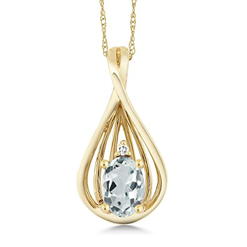 Gem Stone King 10K Yellow Gold Sky Blue Aquamarine and Diamond Teardrop Pendant Necklace For Women 0.43 Cttw Oval With 18 Inc Chain