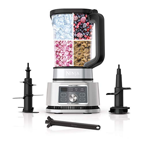 Ninja SS201 Foodi Power Pitcher 4in1 Smoothie Bowl Maker Crushing Blender Dough Mixer Food Processor 1400WP smartTORQUE 6 Auto-iQ presets, with a Stainless Silver Finish (Renewed)