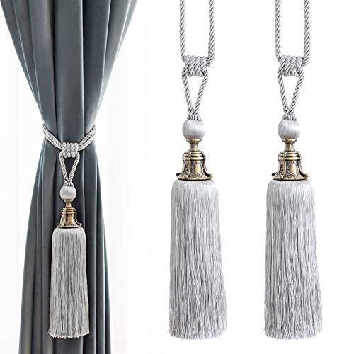 Melodieux Decorative Curtain Tiebacks Antique Tassels Holdbacks - Home Office Windows Drapery Fasteners Fringe Ropes, Set of 2 (Grey)