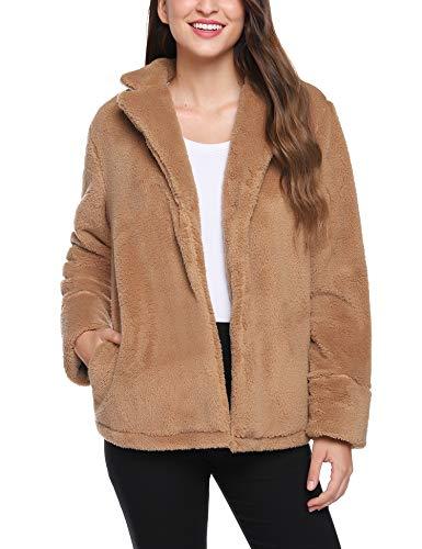 iClosam Damesjas, casual, faux, voor revers lange mouwen, outwear coat